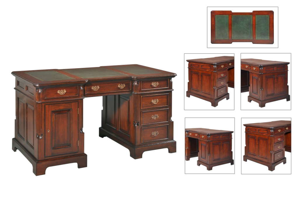 desk product office writing victorian walnut partners table p